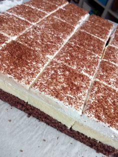 Hevesi krémes - Nassolda Hungarian Desserts, Hungarian Cake, Hungarian Recipes, Pastry Recipes, Baking Recipes, Cake Recipes, Dessert Recipes, Poke Cakes, No Bake Desserts