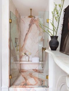 Links Likes Bookcase Doors Abra Berens Cookbook a Pink Marble Bathroom Ice . Links Likes Bookcase Dream Bathrooms, Beautiful Bathrooms, Moroccan Bathroom, Morrocan Decor, Bookcase Door, Marble Showers, Bathroom Interior, Bathroom Pink, Bathroom Shop