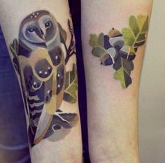 Green owl tattoo by Sasha Unisex