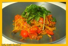 "Tomato-Bacon Yellow Squash ""Pasta"" - great way to make low carb pasta sub"