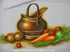 Pintura em Tecido Cobre e Legumes