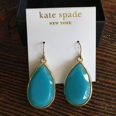 "NWT Kate Spade Day Tripper Earrings Beautiful and NWT Kate Spade Tear Drop Earrings. 14k gold filled with beautiful blue stones.  Stones are 1"" long. Super statement jewelry! kate spade Jewelry Earrings"