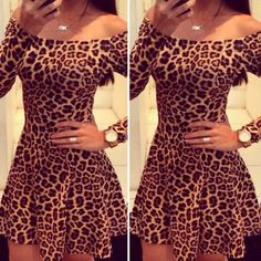 Sexy Off Shoulder Leopard Print Mini Dress