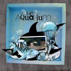 aquarium scrapbook layouts   Both pages made using Bean Bunny Designs kit Shark Tails