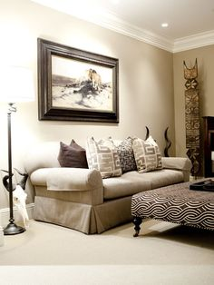 This is an African inspired modern day living room. It is interesting because it shows the transfusion of the tradition african prints, symbols and textures and creates a modern day living space. Which is similar to in class the question of museum or apartment? This would be a apartment inspired by non western design.