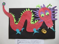 art explorers chinese dragon, stamp on construction paper and collage details on an oil pastel resist background New Year Art, Art Chinois, Chinese Art, Chinese Dragon, 2nd Grade Art, Dragons, New Year's Crafts, Ecole Art, School Art Projects