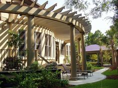 The pergola kits are the easiest and quickest way to build a garden pergola. There are lots of do it yourself pergola kits available to you so that anyone could easily put them together to construct a new structure at their backyard. Curved Pergola, Pergola Garden, Pergola Attached To House, Metal Pergola, Covered Pergola, Pergola Kits, Pergola Ideas, Patio Ideas, Gardens