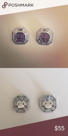 Tory Burch silver logo earrings These are a statement piece! True Tory Burch style and class! Never worn! Tory Burch Jewelry Earrings