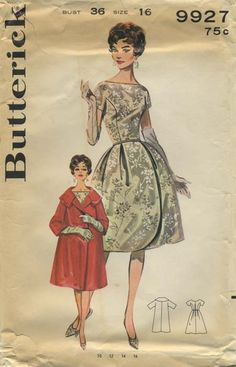 Vintage Sewing Pattern | Butterick 9927 | Year 1961 | Bust 36 | Waist 28 | Hip 38