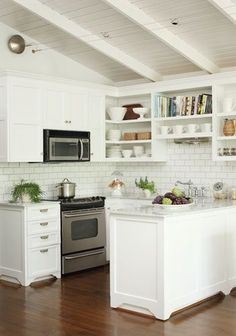 white kitchen with subway tiles
