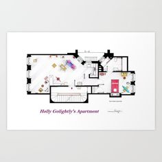 ".<br/> This is the floorplan of Holly Golightly's apartment form ""Breakfast at Tiffany's"".<br/> .<br/> Almost an empty house, with a few furnitures and all the space for the parties...<br/> I included some iconic elements as:<br/> - The half-bathtub sofa.<br/> - The black phone in top of the suitcase.<br/> - The turntable-suitcase and other luggage.<br/> - Her mask with eyelashes near the bed.<br/> - The piñata-bull and the blue stuffed pony in her bedroom.<br/> - The red blanket from…"