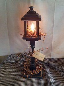 Primitive Decor Wood Electric Candle Lantern Lamp Country Americana | eBay