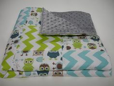 Modern Owls  and Chevron Patchwork Baby Blanket 32 x 32 MADE TO ORDER