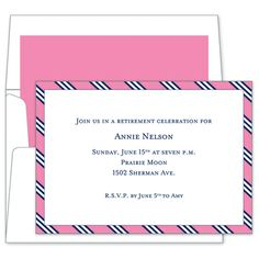 Pink and Navy Repp Tie Invitations