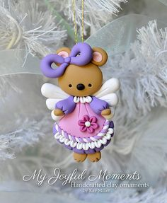 Handcrafted Polymer Clay Angel Bunny Ornament