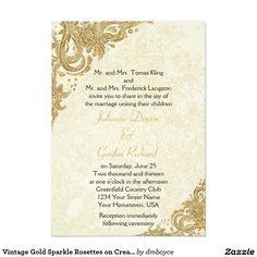 Vintage Gold Sparkle Rosettes on Cream Weddings Card