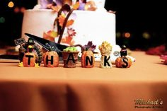 Thanks on mini pumpkins for a thanksgiving wedding reception