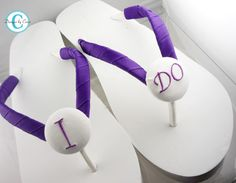 I DO Bridal wedge heel flip flops Purple White by BridalFlipFlops, $31.00