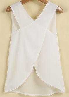Blusa gasa espalda cruzada sin manga-blanco 8.99
