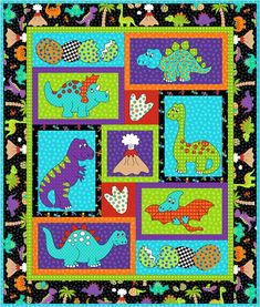 """Dimensions x Cot/crib patchwork applique quilt. Dino Daze is a bright funky babies cot/crib quilt with gorgeous applique Dinosaurs for little girls or boys. This design has been made from the RJR fabric range """"Dino Daze"""" by Kids Quilts. Boys Quilt Patterns, Applique Quilt Patterns, Baby Boy Quilts, Kid Quilts, Animal Quilts, Panel Quilts, Quilt Blocks, Quilt Sizes, Quilt Bedding"""