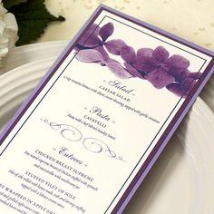 Purple Hydrangea Wedding Dinner Menu, Long Style, Deposit