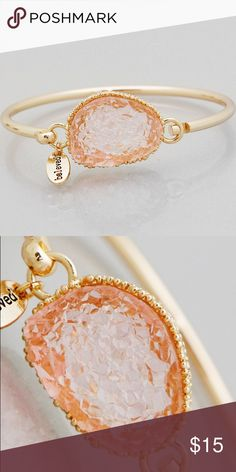 Light pink faux Druzy gold bracelet New! Gold tone 2.5 inch diameter hook bangle. Beloved charm This is not from my handmade Druzy style collection. Bundle and save 15%. No trades.  PRICE FIRM if not bundled. Jewelry Bracelets