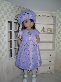 Knitted set for Dianna Effner Little Darling 13 inches doll including:  - dress, - hat, - necklace.   All items are handmade.  This listing does