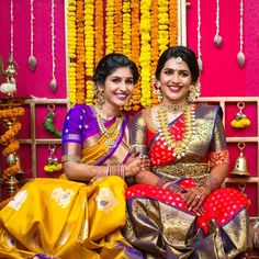 The gorgeous bride & sister of the bride . For creating memories to Cherish for life Book : 7358063018 . Indian Bridal Sarees, South Indian Sarees, Wedding Silk Saree, Indian Bridal Wear, South Indian Bride, Kerala Bride, Hindu Bride, Indian Wear, Sari Design