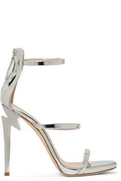 13bb67eb61578 Giuseppe Zanotti - Silver Three-Strap G-Heel Sandals #GiuseppezanottiHeels Giuseppe  Zanotti Heels