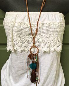 Boho suede double strand braided pom pom by eclecticvintageboho