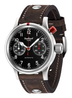 """The Hanhart Pioneer Mk I is the replica of the """"Calibre 40"""", the first precision chronograph produced by Hanhart in 1938 - and issued to Luftwaffe pilots in WWII. Movement: HAN3601 modified automatic chronograph movement (bicompax), based on the Valjoux 7753 calibre. #hanhart German Swiss Watchmakers #horlogerie #chrono @calibrelondon"""