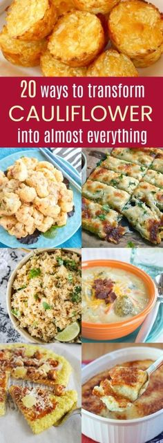 20 Ways to Transform Cauliflower into Almost Everything - the best recipes to use cauliflower to make gluten free, low carb, healthy, or veggie-packed versions of things like mashed potatoes, tots, tacos, macaroni and cheese, breadsticks, and more.  #cauliflower #cauliflowerrecipes #glutenfree #lowcarb