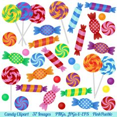 Candy Clipart Clip Art with Lollipops, Peppermints, Hard Candy and Bonbons - Commercial and Personal. $6.00, via Etsy.