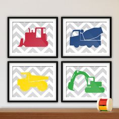 Baby Boy Nursery Wall Art Prints, Young Boys Bedroom, Construction Trucks, Chevron Background, Available in Your Choice of Color and Size
