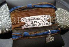 Beautiful soul loving heart silk wrap bracelet by D2E Gallery