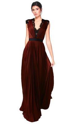 V Neck Lace Gown - Aluguer de vestidos Catherine Deane - Frente