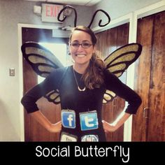 Be a pun-y ~*social butterfly*~ for Halloween this year (we're looking at you, social media goddesses). We've got 19 more hilarious and easy DIY costumes to rock this year. Click through for more fun Halloween ideas. Pun Costumes, Punny Halloween Costumes, Clever Halloween Costumes, Creative Costumes, Halloween Kostüm, Diy Halloween Costumes, Holidays Halloween, Halloween Decorations, Female Costumes