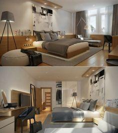 decoración para cuarto color gris y madera