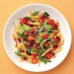 BLT Pasta | MyRecipes.com.  20 minutes to make, inexpensive, and really delicious.  I made it last night, subbing GF pasta, and keeping the spinach raw, tossing it at the end with the warm ingredients to wilt it.