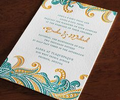 Sneha - Indian abstract feather inspired letterpress wedding card.   Invitations by Ajalon   http:/www.invitationsbyajalon.com/