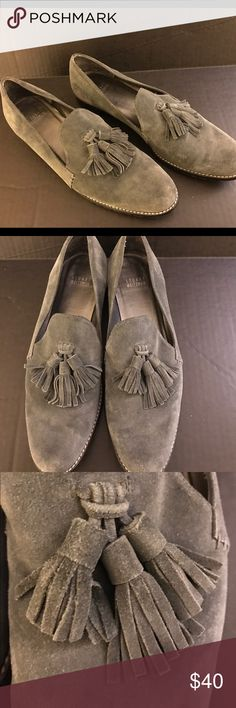 Tasseled Loafers Gray suede triple tasseled loafers.  Worn a few times.  Really classic and versatile.  Authentic. Stuart Weitzman Shoes Flats & Loafers