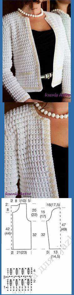 Favolosa giacca bianca stile Chanel, con punto nocciolina all'uncinetto. Favolosa giacca bianca stile Chanel(dal web)