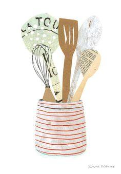 kitchen utensils by Jenni Desmond. spatula, whisk, spoon, slated spoon.