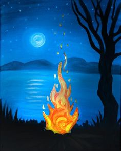 We host painting events at local bars. Come join us for a Paint Nite Party! Lake Painting, Diy Painting, Painting & Drawing, Colorfull Background, Easy Paintings, Pictures To Paint, Painting Inspiration, Diy Art, Painted Rocks