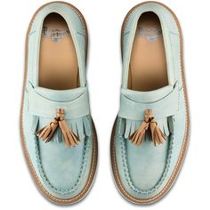 Dr. Martens Leather Annah Shoes ($130) ❤ liked on Polyvore featuring shoes, tassle loafers, leather tassel loafers, wedge heel shoes, tassel loafer shoes and tassel loafers
