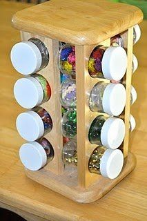 use a spinning spice rack to store sequins, googly eyes, glitter, etc.