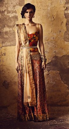 Lehenga with Floral Choli by Sapana Amin