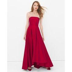 White House Black Market Strapless High-Low Taffeta Gown
