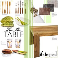 For the Table: it's tropical by stacey-lynne on Polyvore featuring polyvore, interior, interiors, interior design, home, home decor, interior decorating, Mamagreen, XLBoom, Certified International, Koziol and Oscar de la Renta