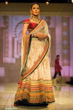 Gorgeous colours on an elegant lehenga  Tarun Tahiliani at India Bridal Fashion Week 2014 via thedelhibride.com